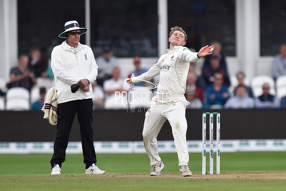 Dom Bess of Somerset bowling during the Specsavers County Champ Div 1 match between Somerset County Cricket Club and Essex County Cricket Club at the Cooper Associates County Ground, Taunton, United Kingdom on 26 September 2019.