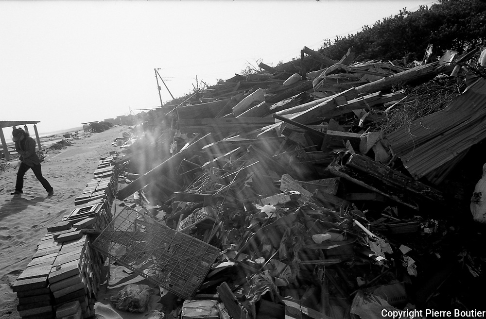 Debris from Tsunami disposed at Asahi Japan, after Tsunami collapse Asahi town, debris  of tsunami  gathered  and reconstruction work start