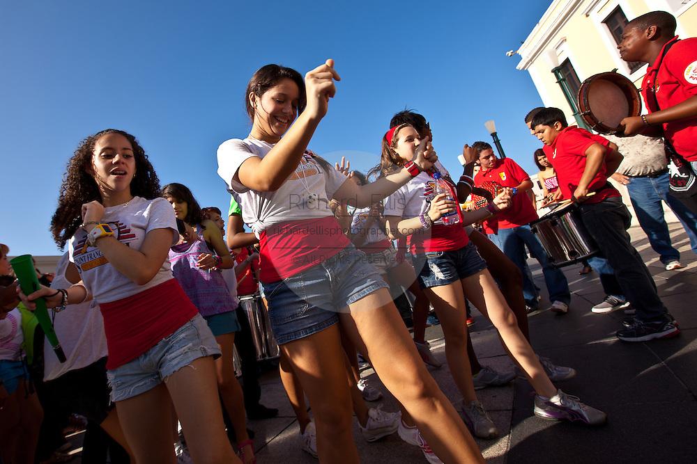 Kids dance during the Festival of San Sebastian in San Juan, Puerto Rico.