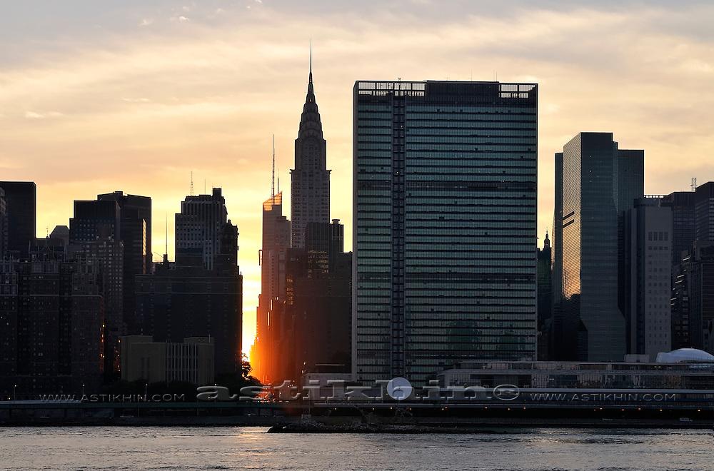 Sunset on 42nd Street Manhattan.