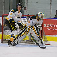 1st year defence man Kirk Bear (2) of the Regina Cougars in action during the Men's Hockey Home Game on November 19 at Co-operators arena. Credit: Arthur Ward/Arthur Images