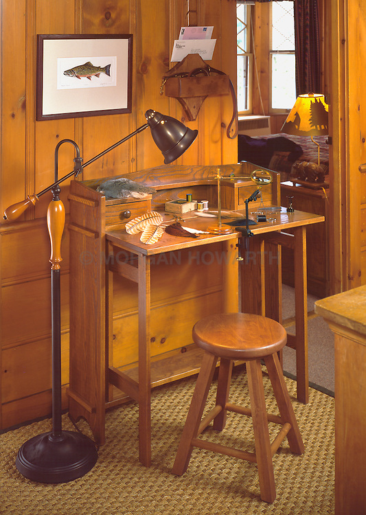 Fly fishing fly tying desk and tools
