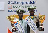 ATLETIKA, Beograd, 18. Apr. 2009. - Kenijski atleticari Ana Dzemkeboj Kosgei i Viktor Kigen Kiplgejt pobednica je 22. Beogradskog maratona u konkurenciji dama. FOTO NENAD NEGOVANOVIC