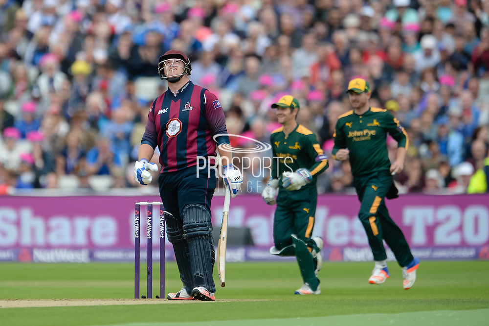 Richard Levi of Northants Steelbacks is given out LBW of the bowling of Andre Russell during the NatWest T20 Blast Semi Final match between Nottinghamshire County Cricket Club and Northamptonshire County Cricket Club at Edgbaston, Birmingham, United Kingdom on 20 August 2016. Photo by David Vokes.