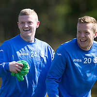 St Johnstone Training...24.04.15<br /> Brian Easton and Scott Brown pictured in training this morning at McDiarmid Park ahead of tomorrow's game at Dundee<br /> Picture by Graeme Hart.<br /> Copyright Perthshire Picture Agency<br /> Tel: 01738 623350  Mobile: 07990 594431