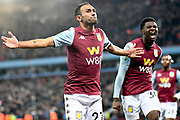 Aston Villa defender Ahmed Elmohamady (27) scores a goal and celebrates  2-1 during the EFL Cup match between Aston Villa and Wolverhampton Wanderers at Villa Park, Birmingham, England on 30 October 2019.