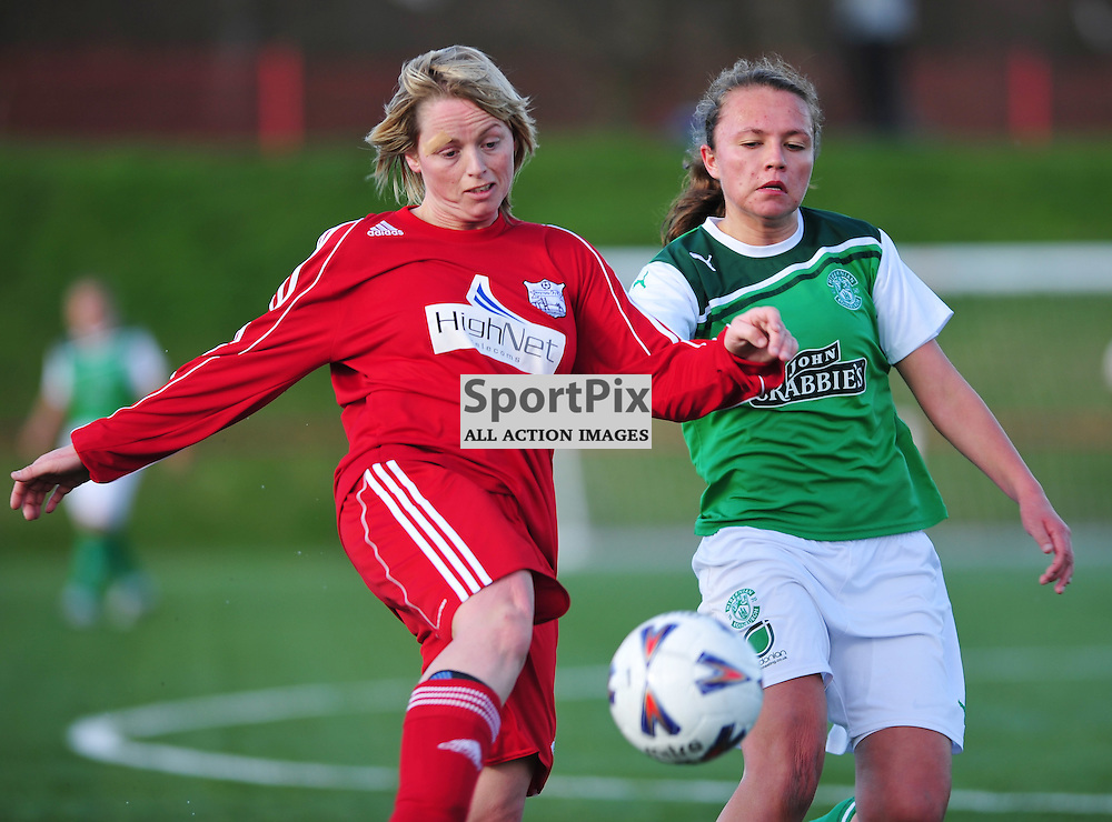 Marnie McCarthur (Inverness) and Claire Emslie clash..Hibernian v Inverness City, Scottish Women's Premier League, 18 March 2012