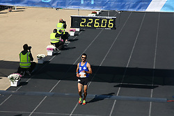 November 13, 2016 - Athens, Greece - The second Greek runner to finish the marathon Kostas Gelaouzos..50.000 long range runners take part in the 42 killometers long Athens Marathon the Authentic in Greece starting from the City of Marathona and ending at Kalimarmaro Stadium in Athens. (Credit Image: © George Panagakis/Pacific Press via ZUMA Wire)