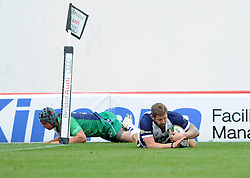 Bristol Rugby's Chris Brooker dives for the try  - Photo mandatory by-line: Dougie Allward/JMP - Mobile: 07966 386802 - 12/10/2014 - SPORT - Rugby - Bristol - Ashton Gate - Bristol Rugby v Connacht Eagles - B&I Cup