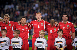 MONCHENGLADBACH, GERMANY - Wednesday, October 15, 2008: Wales' players line-up to face Germany before the 2010 FIFA World Cup South Africa Qualifying Group 4 match at the Borussia-Park Stadium. L-R: David Edwards, Simon Davies, James Collins, Carl Fletcher, Craig Morgan.  (Photo by David Rawcliffe/Propaganda)