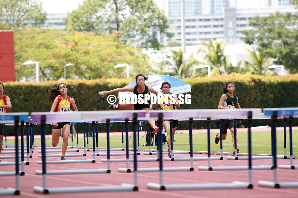 Bishan Stadium, Tuesday, April 19, 2016 — Clenyce Tan of Raffles Institution (RI) took home the A Division Girls' 100 metres hurdles gold at the 57th National Schools Track and Field Championships, clocking a huge personal best of 16.69 seconds in the final.