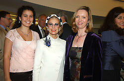 Left to right, CLEMMIE BRIANCE, The MARCHIONESS OF LONDONDERRY and FIONA CHADWICK at a performance by the London Childrens Ballet of 'The Little Princess' at The Peacock Theatre, Portugal Street, London WC2 on 19th May 2005.<br />