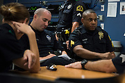 DALLAS, TX - AUGUST 11: Sgt. Ivan Gunter speaks with members of Foxtrot at the Southwest Patrol Division in Dallas, Texas on August 11, 2016. (Photo by Cooper Neill for The Washington Post)