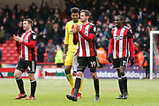 Sheffield United applaud their fans after the game during the EFL Sky Bet Championship match between Sheffield United and Nottingham Forest at Bramall Lane, Sheffield, England on 17 March 2018. Picture by Mick Haynes.
