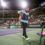 March 11, 2016, Palm Springs, CA:<br /> Serena Williams is introduced before a match against Laura Siegemund during the 2016 BNP Paribas Open at the Indian Wells Tennis Garden in Indian Wells, California Friday, March 11, 2016.<br /> (Photos by Billie Weiss/BNP Paribas Open)