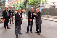 ROME, ITALY - SEPTEMBER 01: New vicar of Rome, Angelo De Donatis, Italian PM Paolo Gentiloni, the director of Caritas Rome, Msgr. Enrico Feroci ,  during visit the Citadel of the Charity of the Diocesan Caritas of Rome on September 1, 2017 in Rome, Italy. Italian PM Paolo Gentiloni visited the Caritas to express the gratitude of all Italians to the world of volunteering, to those who work in favour of solidarity.