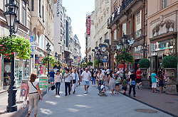 Váci utca (Váci street) is one of the main pedestrian thoroughfares and perhaps the most famous street of central Budapest, Hungary. It features a large number of restaurants and shops catering primarily to the tourist market.