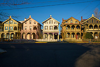 Row of victorian architecture homes in Cape May, New Jersey.