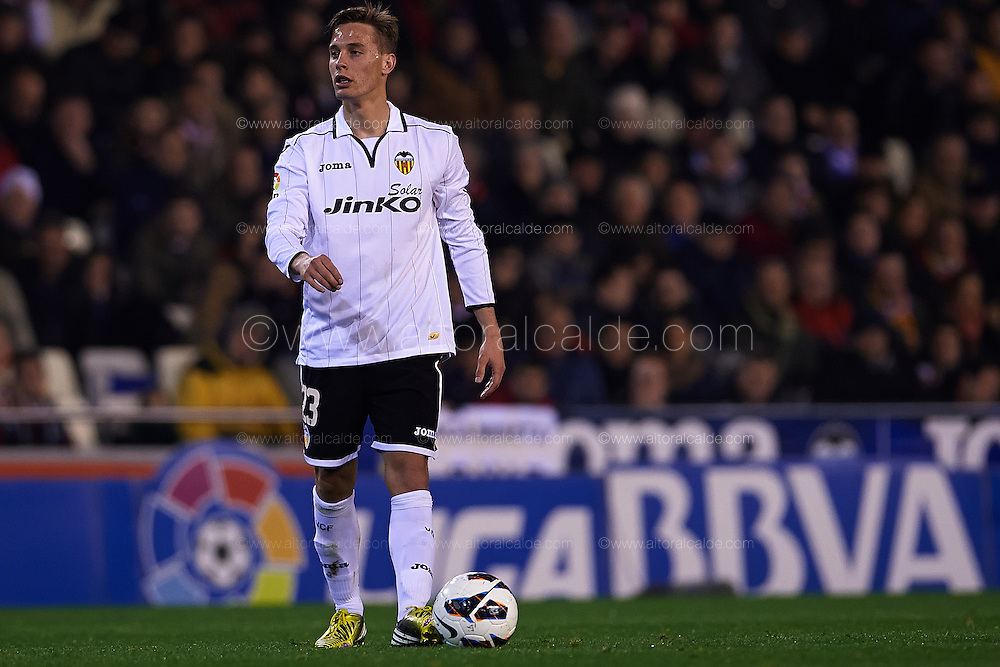 VALENCIA, SPAIN - MARCH 02: Sergio Canales of Valencia CF looks on during the Liga BBVA between Valencia CF and Levante UD at the Mestalla stadium on March 02, 2013 in Valencia, Spain. (Photo by Aitor Alcalde Colomer).