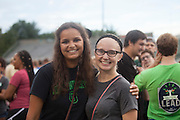 Rosa Negash, left, and Jalicia Ruttino pose for a photo on the field of Peden Stadium before the Class of 2020 photo on Saturday, August 20, 2016. © Ohio University / Photo by Kaitlin Owens