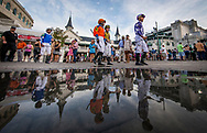 LOUISVILLE, KY - APRIL 29:  Jockeys for the 5th race walk out to the paddock at Churchill Downs on April 29, 2017 in Louisville, Kentucky. (Photo by Alex Evers/Eclipse Sportswire/Getty Images)