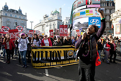 © licensed to London News Pictures. London, UK 03/03/2012. Women marching at Million Women Rise march against male violence and rape in London, this afternoon (03/03/12). Photo credit: Tolga Akmen/LNP