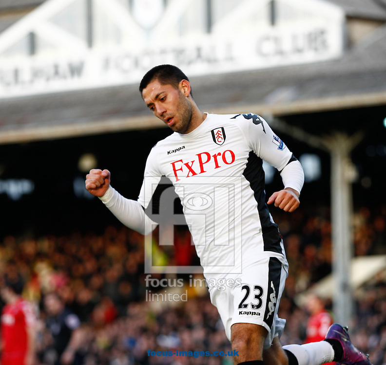 Picture by Andrew Tobin/Focus Images Ltd. 07710 761829.. 07/01/12. Clint Dempsey (23) of Fulham celebrates scoring the first goal during the FA Cup third round match between Fulham and Charlton Athletic at Craven Cottage stadium, London.