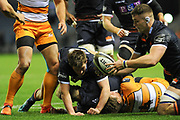 Magnus Bradbury spills the ball during the Guinness Pro 14 2018_19 match between Edinburgh Rugby and Toyota Cheetahs at BT Murrayfield Stadium, Edinburgh, Scotland on 5 October 2018.
