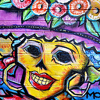 Day of Dead Colorful Smiling Woman Skull Wearing Bonnet Mural in Scottsdale, Arizona<br />