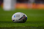 The official World Cup ball during the Rugby World Cup Pool A match between England and Wales at Twickenham, Richmond, United Kingdom on 26 September 2015. Photo by David Charbit.