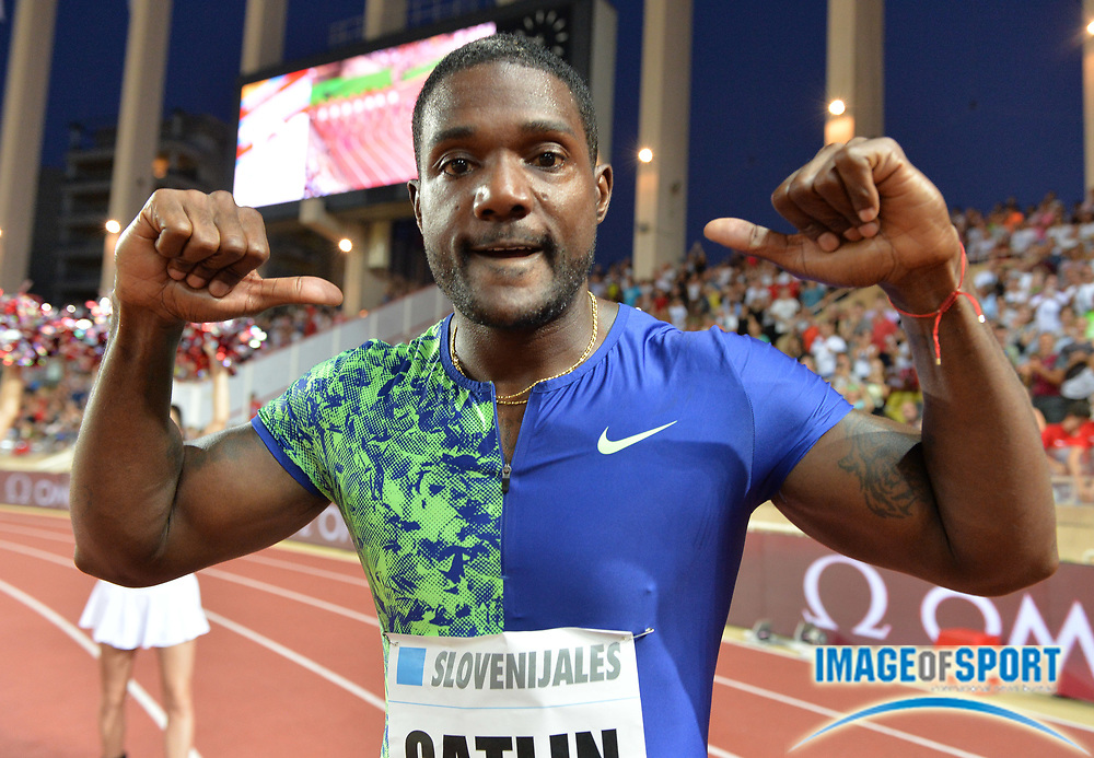 Justin Gatlin (USA) poses after winning the 100m in 9.91 during the Herculis Monaco in an IAAF Diamond League meet at Stade Louis II stadium in Fontvieille, Monaco on Friday, July 12, 2019. (Jiro Mochizukii/Image of Sport)