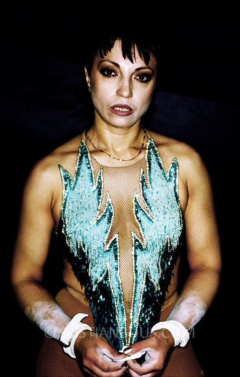 Irina Eskina, trapeze artist..The Moscow State Circus, - after her  first show of the season.