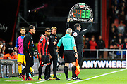 Substitution - Jordan Ibe (33) of AFC Bournemouth comes on for Ryan Fraser (24) of AFC Bournemouth during the Premier League match between Bournemouth and Brighton and Hove Albion at the Vitality Stadium, Bournemouth, England on 15 September 2017. Photo by Graham Hunt.