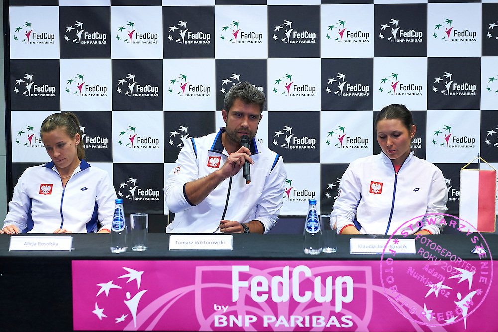 (L) Alicja Rosolska and (C) trainer coach Tomasz Wiktorowski and (R) Klaudia Jans Ignacik all from Poland while press conference during Second Day of the Fed Cup / World Group 1st round tennis match between Poland and Russia at Tauron Krakow Arena on February 8, 2015 in Cracow, Poland.<br /> <br /> Poland, Cracow, February 8, 2015<br /> <br /> Picture also available in RAW (NEF) or TIFF format on special request.<br /> <br /> For editorial use only. Any commercial or promotional use requires permission.<br /> <br /> Adam Nurkiewicz declares that he has no rights to the image of people at the photographs of his authorship.<br /> <br /> Mandatory credit:<br /> Photo by &copy; Adam Nurkiewicz / Mediasport