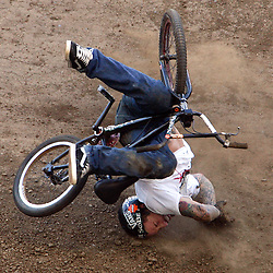 Cory Nastazio of Riverside,Calif., crashes hard on his face during the first round of the BMX Freestyle Dirt Finals during the Eleventh X Games at the Home Depot Center in Carson ,Calif., August 6. 2005. <br /> (Pasadena Star-News Staff Photo Keith Birmingham/SXSports)