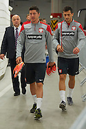 Poland's Robert Lewandowski walks on official training one day before the EURO 2016 qualifying match between Poland and Germany on October 10, 2014 at the National stadium in Warsaw, Poland<br /> <br /> Picture also available in RAW (NEF) or TIFF format on special request.<br /> <br /> For editorial use only. Any commercial or promotional use requires permission.<br /> <br /> Mandatory credit:<br /> Photo by © Adam Nurkiewicz / Mediasport
