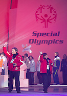 (L) Trainer Tomasz Urbaniak and (R) Anna Goliczewska walk closing Ceremony of the 10th Special Olympics World Winter Games in the Yongpyong Dome near Alpensia on February 5, 2013...South Korea, PyeongChang, February 5, 2013..Picture also available in RAW (NEF) or TIFF format on special request...For editorial use only. Any commercial or promotional use requires permission...Photo by © Adam Nurkiewicz / Mediasport