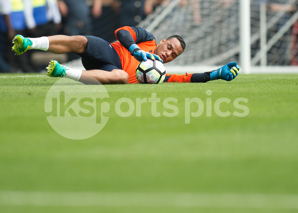 Michel Vorm of Tottenham Hotspur warms up before the Premier League match between Tottenham Hotspur and Liverpool at White Hart Lane, London, England on 27 August 2016. Photo by Vince  Mignott.