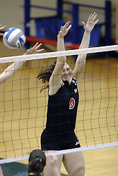 27 October 2006: Ali Crouch goes for the block, but the ball goes to her right. The Bears won the match 3 games to 1.The match between the Washington University Bears and the Illinois Wesleyan Titans took place at Shirk Center on the IWU campus in Bloomington Illinois.<br />