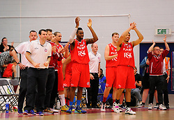 The flyers bench celebrate on the final whistle  - Photo mandatory by-line: Joe Meredith/JMP - Mobile: 07966 386802 - 18/04/2015 - SPORT - Basketball - Bristol - SGS Wise Campus - Bristol Flyers v Leeds Force - British Basketball League