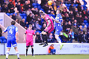 Hartlepool player Lewis Alessandra goes for a high ball in the second half  during the EFL Sky Bet League 2 match between Colchester United and Hartlepool United at the Weston Homes Community Stadium, Colchester, England on 25 February 2017. Photo by Ian  Muir.