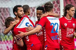 12-05-2018 NED: FC Utrecht - Heerenveen, Utrecht<br /> FC Utrecht win second match play off with 2-1 against Heerenveen and goes to the final play off / (L-R) Rico Strieder #6 of FC Utrecht score the 1-0, , Mark van der Maarel #2 of FC Utrecht, Urby Emanuelson #18 of FC Utrecht, Sander van der Streek #22 of FC Utrecht, Giovanni Troupee #20 of FC Utrecht