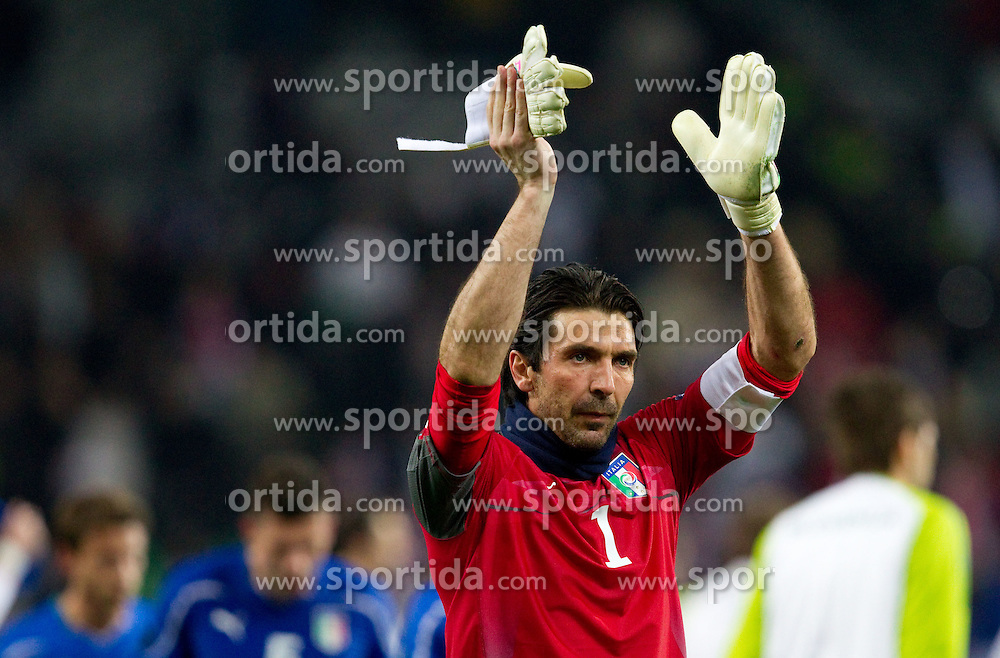 Gianluigi Buffon of Italy celebrates after the EURO 2012 Quaifications game between National teams of Slovenia and Italy, on March 25, 2011, SRC Stozice, Ljubljana, Slovenia. Italy defeated Slovenia 1-0.  (Photo by Vid Ponikvar / Sportida)