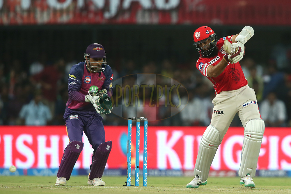 Hashim Amla of Kings XI Punjab plays a delivery square during match 4 of the Vivo 2017 Indian Premier League between the Kings XI Punjab and the Rising Pune Supergiant held at the Holkar Cricket Stadium in Indore, India on the 8th April 2017<br /> <br /> Photo by Shaun Roy - IPL - Sportzpics
