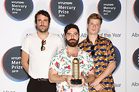 Shortlisted artists Foals: Jimmy Smith, Yannis Philippakis, Jack Bevan attend the 2019 Hyundai Mercury Prize Launch, Langham Hotel, London, UK, Saturday 06 July 2019<br /> Photo JM Enternational
