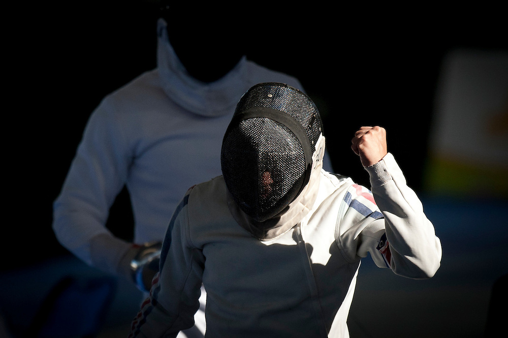 Oct. 16, 2011 - Guadalajara, Mexico – Esteban Bustos from Chili defeats Eduardo Salas from Venezuela during the Pentathlon, where athletes compete in fencing, swimming, equestrian, shooting, and running at the Hipcia Club on the second day of the Pan American Games..Benjamin Brian Morris ©2011