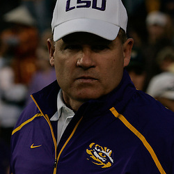 Oct 31, 2009; Baton Rouge, LA, USA;  LSU Tigers head coach Les Miles during warm ups prior to kickoff against the Tulane Green Wave at Tiger Stadium. LSU defeated Tulane 42-0. Mandatory Credit: Derick E. Hingle