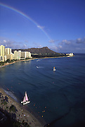 Rainbow over Diamond Head, Waikiki, Oahu,  Hawaii<br />
