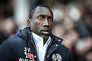 Queens park Rangers manager Jimmy Floyd Hasselbaink during the EFL Sky Bet Championship match between Nottingham Forest and Queens Park Rangers at the City Ground, Nottingham, England on 5 November 2016. Photo by Jon Hobley.
