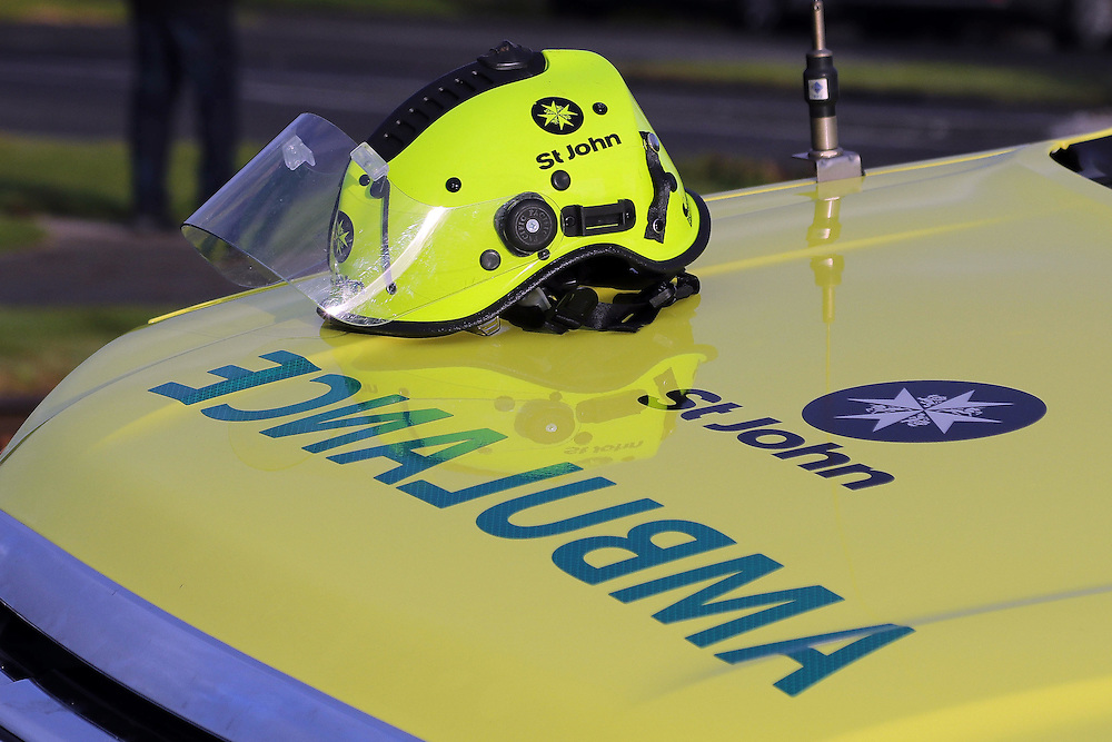 St John Ambulance response unit and helmet, Pukekohe, New Zealand, Sunday, August 14, 2016. Credit:SNPA / Hayden Woodward  **NO ARCHIVING**